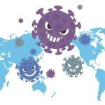 世界地図とウイルス